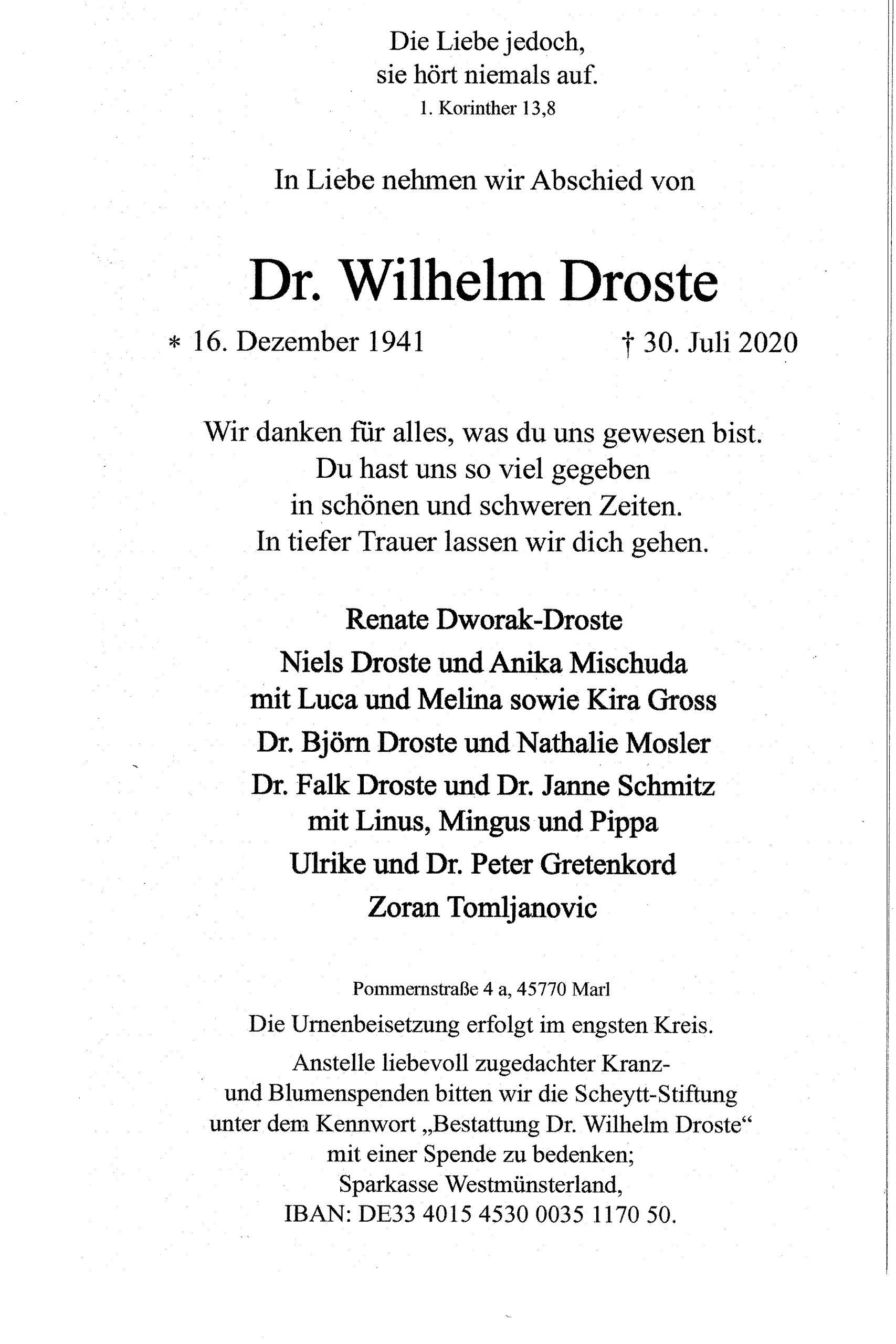 Wir trauern um unser Mitglied Dr. Wilhelm Droste